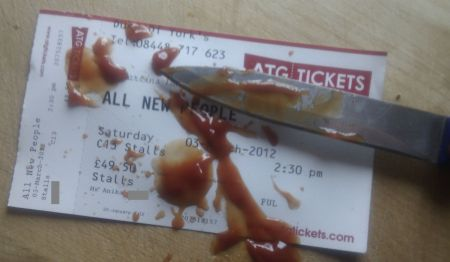 My ticket for the play with artificial blood all over it